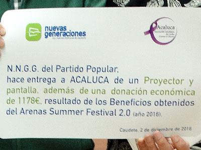 Nuevas Generaciones del Partido Popular de Caudete dona a ACALUCA parte de la recaudación del «Arenas Summer Festival 2.0»